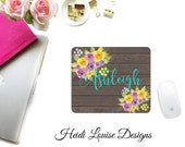 Watercolor Roses, Purple/Pink/Yellow Mouse Pad, Dark Brown Wood Background - Desk Accessory
