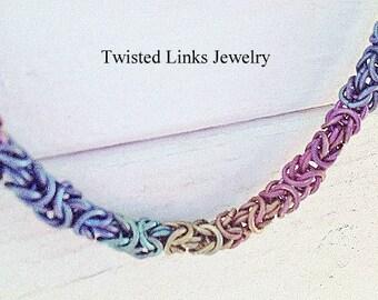Rainbow titanium chainmail bracelet Byzantine chainmaille