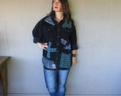 upcycled Boyfriend shirt fall jacket funky clothing oversize X L 1 X 2 X patchwork tunic Artsy Eco Boho top farm girl top LillieNoraDryGoods