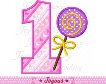 Instant Download Lollipop Number 1 Applique Embroidery Design NO:2149