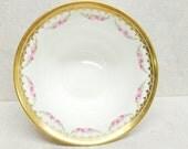 Antique Royal Cauldon Bone China Fruit Bowl Pink and Gold Roses Brown Westhead Moore  K366