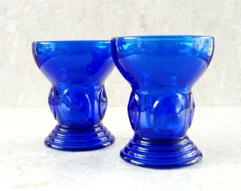 Cobalt Blue New Martinsville Moondrops Tumblers Blue Glass Whiskey Glasses  Depression Glass Shot Glasses Dark Blue Set of 2