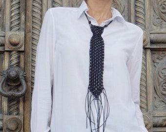 NEW Collection  Black Extravagant Leather Extra Long Macrame Tie  Necklace / HandMade by AAKASHA A16446