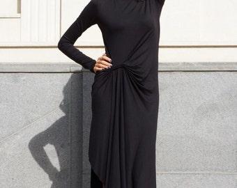 New Autumn Sexy Dress / Black Viscose Dress /Assymstric Maxi Dress / Long Sleeves Maftan /Extravagant Party Dress by AAKASHA A03509
