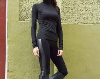 NEW Fall COLLECTION Black Extra Long Leggings / Faux Vegan  Leather Sides  / Viscose Elastic Front and Back  by AAKAHSA A05510