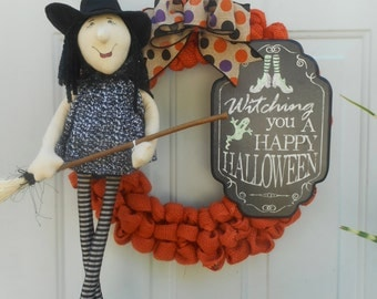 Halloween wreath Halloween burlap wreath Orange Halloween burlap wreath Witch wreath Halloween witch wreath Witch decor Halloween door RTS