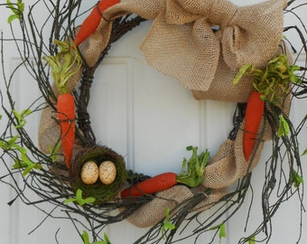 Rustic Spring wreath, Country Spring wreath, Primitive Spring wreath, Country twig wreath, Rustic Spring twig wreath, birds nest wreath RTS