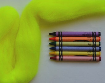 CORRIEDALE WOOL ROVING / Highlighter Yellow 1 ounce / bright corriedale wool for needle felting, wet felting, doll hair, troll hair, dreads