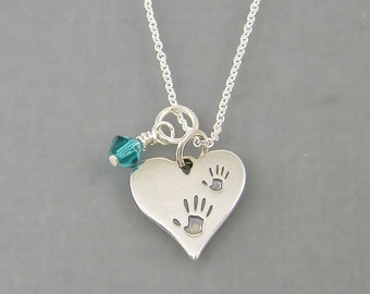 Hand Print Necklace Birthstone Jewelry Mothers Necklace Sterling Silver Mother Child Pendant Heart Handprint Family Necklace |NS1-12