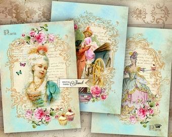 Bonjour Paris - digital collage sheet - set of 4 cards - Printable Download