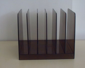 vintage smoke lucite acrylic desk top letter rack