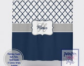 Moroccan Navy Blue and White Shower Curtain - Navy Blue Personalized Shower Curtain - Ornamental Monogrammed Shower Curtain