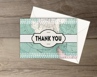 Travel Thank You Cards / Matching Travel Themed Baby Shower Invitations