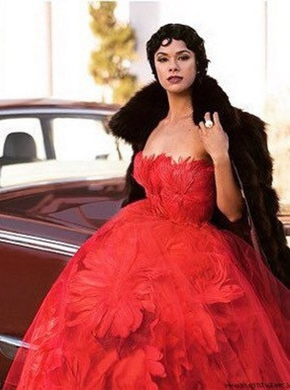Irina Shabayeva Red Couture Feather Bouquet Ball Gown worn by Misty Copeland and Kat Graham.