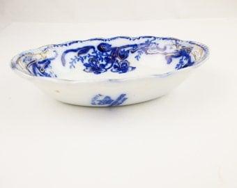 Flow Blue 1890 Soap Dish - Pin Dish - Serving Dish - Sauce Dish - Cobalt Blue - Johnson Bros 'Del-Monte' Violets - Vintage Accessory