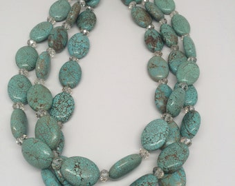 Triple Strand Turquoise Howlite STATEMENT Necklace with Asian Crystal