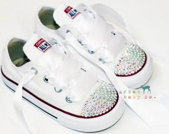 Infant, Toddler Low Top Baby Girl White Converse® All Star® Chuck Taylor's® With White Ribbon Laces & Swarovski® Crystal Rhinestones