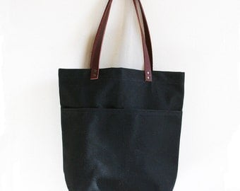 Black Waxed Canvas Tote Bag with Leather Straps and Two Front Pockets