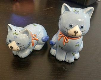 Otagiri blue cat salt and pepper shakers vintage made in Japan