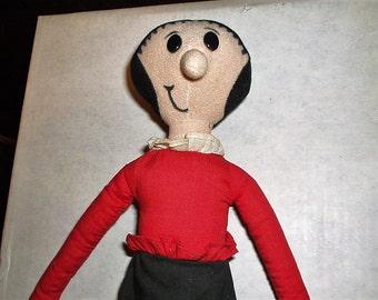 """Popeye's Girlfriend Olive Oyl 16"""" Stuffed Cloth Doll"""
