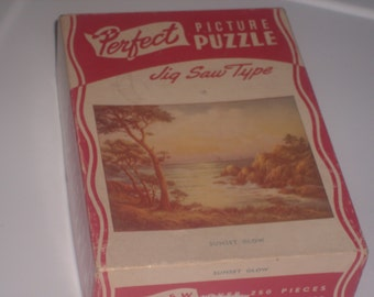 Vintage 1940s jig saw Perfect puzzle SUNSET GLOW