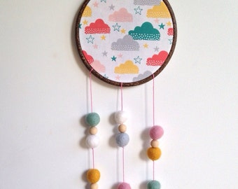 Clouds Fabric Hoop / Dream Catcher / Felt Ball / Wood Bead / Wall Hanging