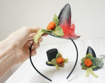 Witch mini top hat Halloween black orange felted with felt wool fascinator pumpkin cap mesh Valentine New year Christmas cosplay tiny small