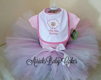 "The ""Little Miss Behaving"" Newborn Baby Girl Tutu Outfit"