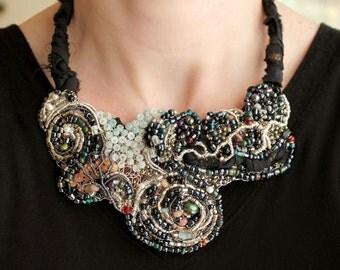 Black Statement Necklace, Silver and Black Jewelry, Beaded Bib Necklace, OOAK Jewelry, Gemstone Bib, One-of-a-Kind Necklace by Artemissa