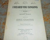 """Vintage Music Sheets, """"I Heard You Singing"""", 1920's, Music Score, Sheet Music, Old Music, Music Note Paper"""