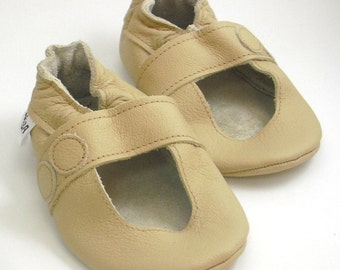 soft sole baby shoes handmade infant gift sandals beige 18-24 fille chaussons cuir souple pour chaussures Lederpuschen ebooba SN-14-BE-T-4