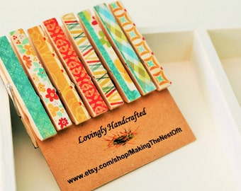 Refrigerator Magnets, Photo Display Clothespins, Tiny Wood Clips
