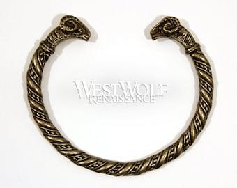 Ram's Head Bracelet - Aries Symbol - Viking/Norse/Greek/Celtic Bronze Wrist Band/Torc/Bangle
