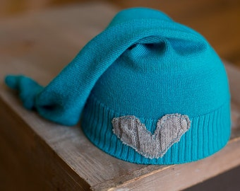 Newborn Upcycled Hat READY TO SHIP Blue Knit Sleepy time Stocking Cap with Gray Heart, Newborn Photography Prop, Newborn Boy Hat, Blue Hat