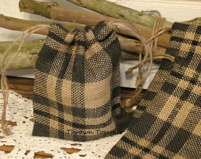 Black Plaid Burlap Favor Bag, Burlap Bag, Plaid Wedding Favors, Rustic Bags, Black Plaid Party Favor Bag, Set of 5 Handmade Rustic Gift Bags