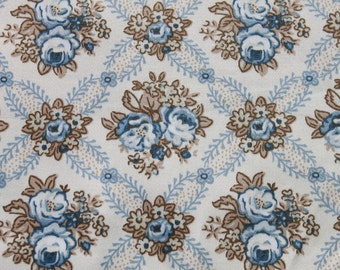Vintage Polished Cotton Flower Fabric,  Cottage Shabby Chic Fabric, Blue Rose Flower Cotton Chintz Fabric, Sewing Fabric 1 1/2 yards