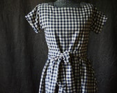 Dress / Day Dress / 1950's dress /  Summer Dress / Retro Dress / Vintage Dress / Long Dress / Checked Dress / Short Sleeve Dress