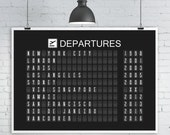 Personalised Departures Board Print, Split-Flap Display, Sizes 36x24, A1 or A2, Personalized Travel Art Print