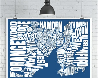 New Haven Neighborhoods Map Print - Custom New Haven Typography Map with Landmarks, Various Colors, Type Map Art Print Poster