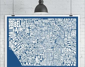 Los Angeles Neighborhoods Map Print - Custom LA Typography Map with Landmarks, Various Colors, Type Map Art Print Poster