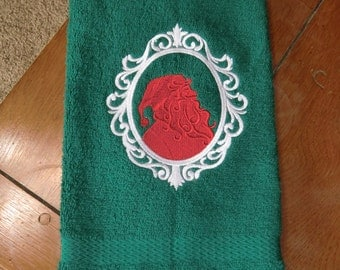 Embroidered Hand Towel - Christmas - Santa Siloutte
