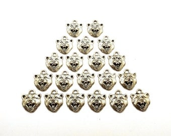 Twenty (20) Pewter Grizzly Bear Charms - Mascot - Free Shipping in the US - (0154)