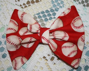 BASEBALL BOW Barrette or Headband Select Tabs Below for Size/Style Game Day Hair Bow Baby Girls Toddlers Teens