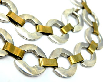 Statement Sterling Necklace Taxco Mexico Vintage Jewelry Heavy Large 125 Grams Modernist Signed SALE Coupon Sparkle2017 For 15% Discount