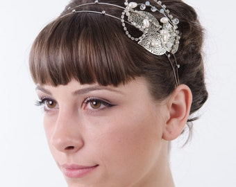 Silver Double Crystal Tiara, Rhinestone Bridal Headpiece, Leaf  Bridal Headband, Bridal Crown, Bridal Hair Accessory, Bride Halo, art deco
