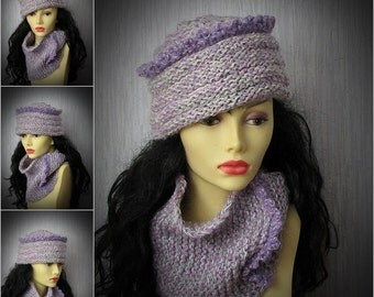 Wool Hat and Scarf in set Handmade Lilac set of 2 pieces Crochet  hat and cowl Scarf Knitted Hat Women's Beanie HAT  Chunky Hat