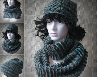 Set Handmade Knit Hat and Scarf BLUE BROWN Women Slouchy  Knit Winter Autumn Accessories