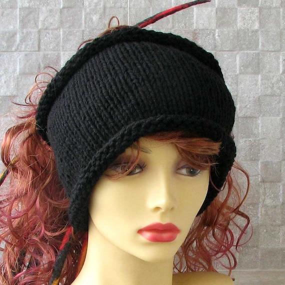 Hand Knit headband Mens headwrap Black dreadlock tube Mens