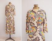 1970s Dress - Vintage 70s Floral Shirt Dress - Aranjuez Dress