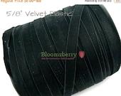 "July Sale 12% OFF 5/8"" Velvet Elastic  - Black Color - Black Stretchy Velvet Elastic - None Glitter - Black Elastic - Hair Accessories  Supp"